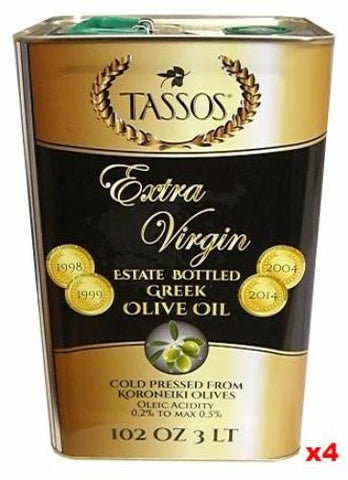Extra Virgin Greek Olive Oil (Tassos) CASE (4 x 3L) - Parthenon Foods