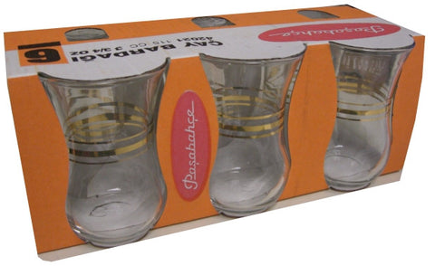 Tea Glasses with Gold (Pasabahce) 115 cc (6 Pack) - Parthenon Foods