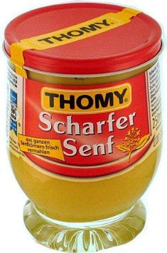 Thomy Scharfer Senf, HOT Mustard, 250ml glass - Parthenon Foods