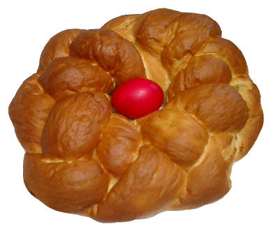 Greek Easter Bread, Tsoureki, 2lb with Red Egg - Parthenon Foods