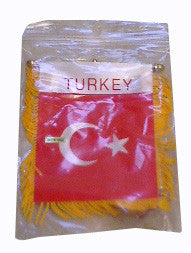 Turkish Flag with String and Suction Cap, 4x6 in. - Parthenon Foods