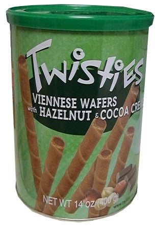 Twisties Wafer Rolls, Hazelnut and Cocoa, 400g - Parthenon Foods