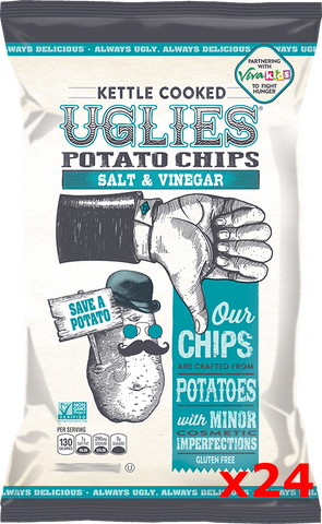 Uglies Salt and Vinegar Kettle Cooked Potato Chips CASE (24 x 2 oz) - Parthenon Foods