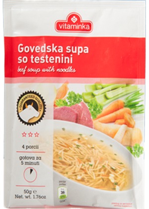 Beef Flavor Soup with Noodles (Vitaminka) 60g - Parthenon Foods