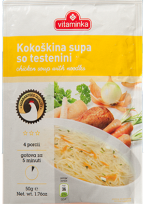 Chicken Flavored Soup with Noodles (vitaminka) 65g (2.29oz) - Parthenon Foods