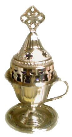 Votive Lamp (candili) Oil Burning, Brass GOLD 7.5 in, Standing - Parthenon Foods