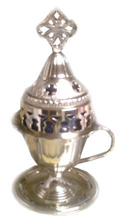 Votive Lamp (candili) Oil Burning, Brass SILVER 7.5 in, Standing - Parthenon Foods