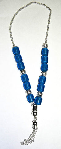 Worry Beads - Komboloi, Blue with Silver - Parthenon Foods