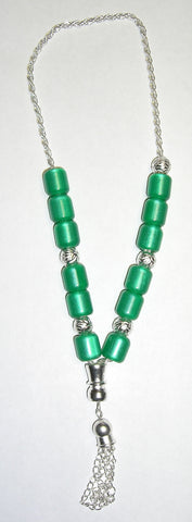 Worry Beads - Komboloi, Green with Silver - Parthenon Foods
