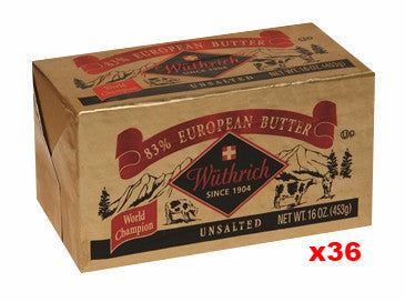 Wüthrich European Style 83 % Unsalted Butter, CASE (36 x 16 oz) - Parthenon Foods