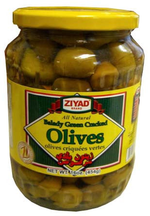Balady Green Cracked Olives (Ziyad) 16 oz (454g) - Parthenon Foods