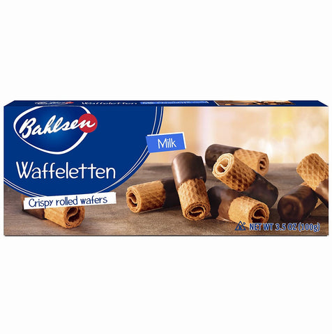 Waffeletten Crispy Rolled Wafers, Milk Chocolate (Bahlsen) 3.5 oz - Parthenon Foods