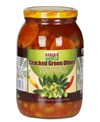 Cracked Green Olives with Pepper Sauce, HOT (Baraka) 4.4 lbs Jar - Parthenon Foods