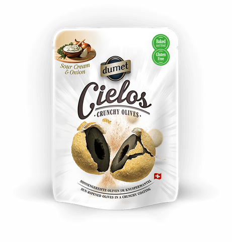 Cielos Crunchy Olives - Sour Cream & Onion, 2.1 oz (60g) - Parthenon Foods