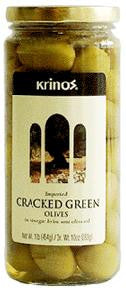 Green Cracked Olives (krinos) 1lb, Dr.Wt. 10oz - Parthenon Foods