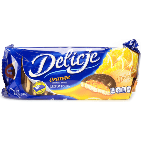 Delicje - Soft Biscuit Topped with Chocolate - Orange Filling, 147g - Parthenon Foods
