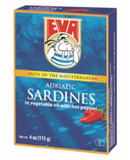 Eva Sardines Hot in Vegetable oil, 115g(4oz) - Parthenon Foods