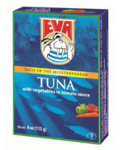 Eva Tuna Fillets with Vegetables in Tomato Sauce, 4 oz (115g) - Parthenon Foods