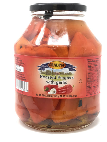 Roasted Peppers with Garlic (Gradina) 56oz - Parthenon Foods