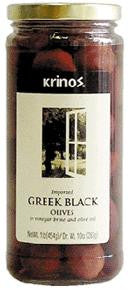 Greek Black Olives (krinos) 1lb, Dr.Wt. 10oz - Parthenon Foods