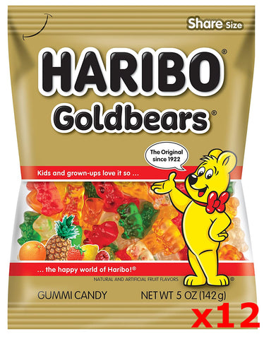 Haribo Gummi Candy, Original Gold Bears, CASE (12 x 5 oz Bags) - Parthenon Foods