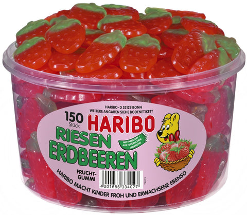 Haribo Riesen Erdbeeren, Gummi Strawberry, Tub - Parthenon Foods