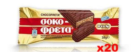 Chocofreta - Milk Chocolate Covered Wafers, CASE (20x38g) - Parthenon Foods