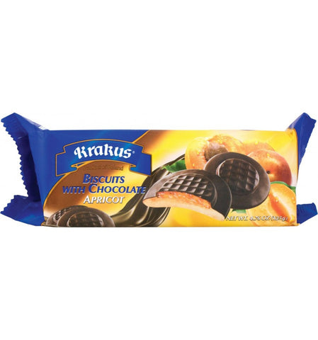 Biscuits with Chocolate, Apricot (Krakus) 4.76 oz (135g) - Parthenon Foods