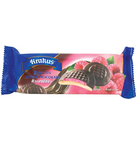 Biscuits with Chocolate, Raspberry (Krakus) 4.76 oz (135g) - Parthenon Foods