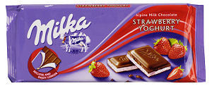 Milka Milk Chocolate Filled with Strawberry and Yogurt, 100g - Parthenon Foods