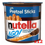 Nutella and GO! Snack with PRETZEL Sticks CASE (12 x 1.8 oz) - Parthenon Foods