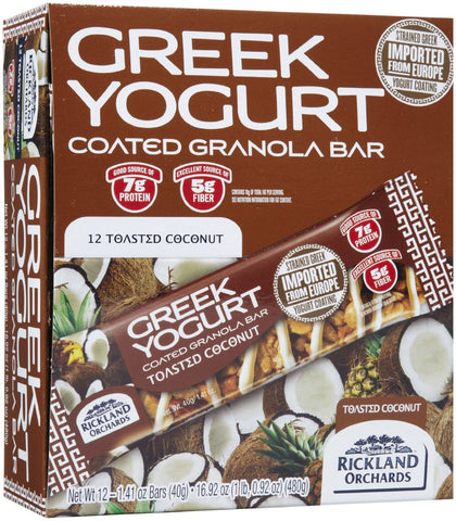 Rickland Orchards Greek Yogurt Bar Toasted Coconut 12 per Box - 1.41 oz (40 g) Bars - Parthenon Foods