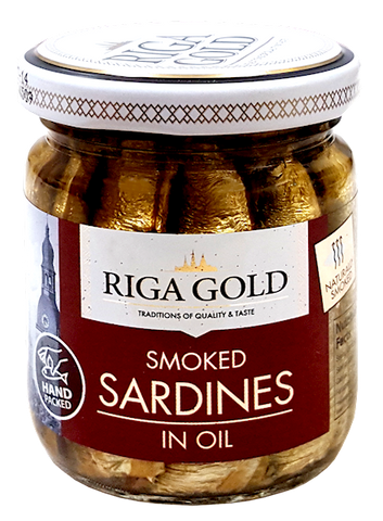 Riga Gold Smoked Sardines in Oil, 100g Jar - Parthenon Foods