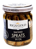 Riga Gold Smoked Sprats in Oil, 100g Jar - Parthenon Foods