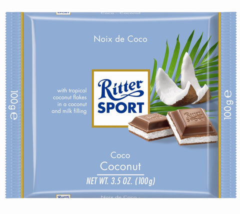 Ritter Sport Milk Chocolate with Coconut, 100g - Parthenon Foods