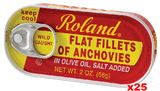 Anchovy Fillets in Olive Oil (Roland) CASE (25 x 2 oz) cans - Parthenon Foods