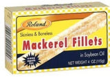 Mackerel Fillets Skinless & Boneless in Soybean Oil (Roland) 4 oz - Parthenon Foods