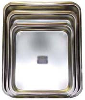 Square Stainless Steel Pan, Large, I.D. 16x12in, 2.5 in. deep - Parthenon Foods