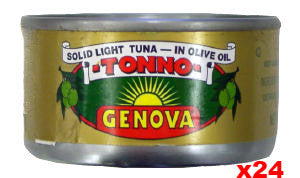 Genova Tuna in Olive Oil, CASE, 24x85g (3oz) - Parthenon Foods