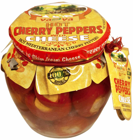 Red Cherry Peppers Stuffed with Cheese HOT (Vava) 550g - Parthenon Foods