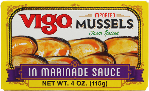 Mussels in Marinada Sauce (Vigo) 4 oz - Parthenon Foods