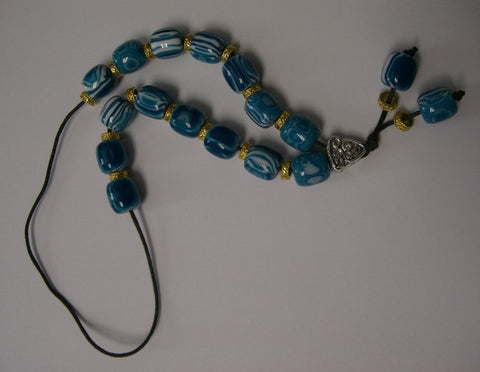 Worry Beads - Komboloi, Blue-White Marble-Gold - Parthenon Foods
