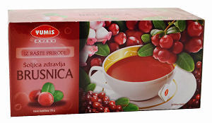 Cranberry Tea, Brusnica (Yumis) 20 tea bags, 35g - Parthenon Foods