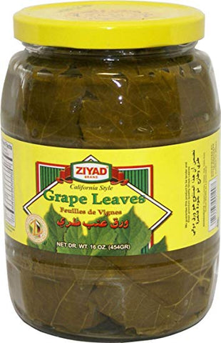 California Grape Leaves 2lb jar (ziyad) DR.WT. 16oz - Parthenon Foods