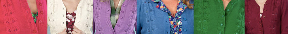1940s style cardigan summer colours