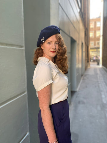 Beret, 1940s style blouse and trousers
