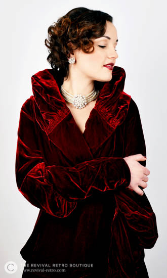 Audrey Hepburn inspired jewellery set from Breakfast at Tiffany's worn with red velvet coat inspired by Greta Garbo from Trashy Diva Clothing