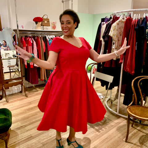 red 1950s inspired dress London shop