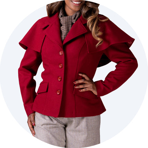 Short burgundy red jacket with capelet