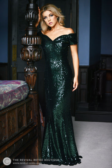 1950s Dresses Sequin Gown